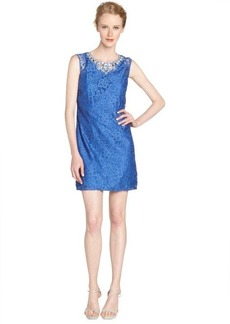 Laundry by Shelli Segal tide pool blue jewel neckline lace overlay dress