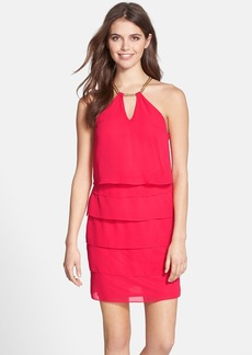Laundry by Shelli Segal Tiered Chiffon Popover Dress