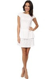 Laundry by Shelli Segal Tiered Skirt Cap Sleeve Lace Dress