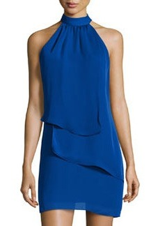 Laundry by Shelli Segal Tiered Sleeveless Halter Dress, Blue Beret