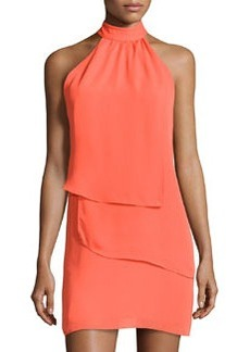 Laundry by Shelli Segal Tiered Sleeveless Halter Dress, Pop Orange