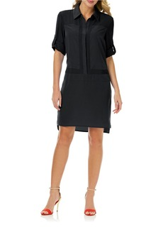 LAUNDRY BY SHELLI SEGAL Tonal Colorblock Shirt Dress