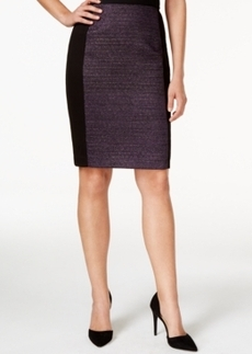Laundry by Shelli Segal Tweed-Boucle Solid-Panel Pencil Skirt