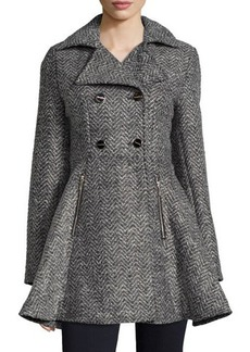 Laundry by Shelli Segal Tweed Double-Breasted Swing Coat