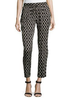 Laundry by Shelli Segal Twill Knit Geometric-Print Pants, Black/Multi