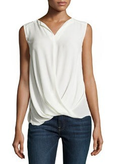 Laundry by Shelli Segal Twist-Draped Charmeuse Top, Warm White