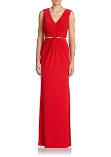 Laundry by Shelli Segal Twist-Front Belted Gown
