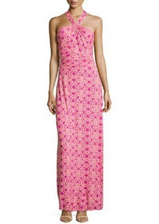 Laundry by Shelli Segal Twist-Front Geo-Print Maxi Dress, Rose Violet