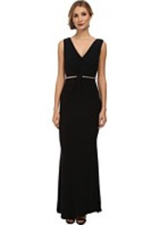 Laundry by Shelli Segal Twist Front Gown with Metal Belt