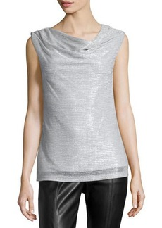 Laundry by Shelli Segal Twisted-Collar Shimmer Top