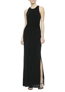 Laundry by Shelli Segal Twisted-Front Sparkle Jersey Gown