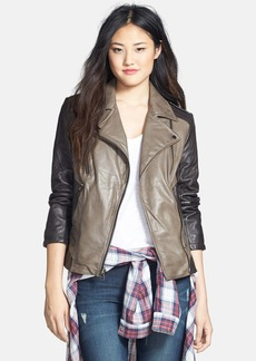 Laundry by Shelli Segal Two-Tone Asymmetrical Leather Moto Jacket