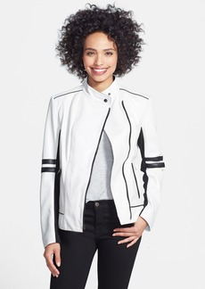 Laundry by Shelli Segal Two-Tone Leather Moto Jacket