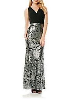 LAUNDRY BY SHELLI SEGAL V-Neck Gown