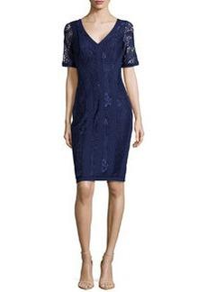 Laundry by Shelli Segal V-Neck Lace/Double-Knit Dress, Inkblot