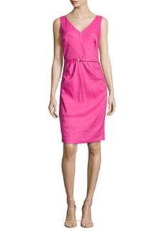 Laundry by Shelli Segal V-Neck Linen-Blend Pintuck Dress, Flower