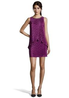 Laundry by Shelli Segal violet mist stretch pleated pop-over embellished shift dress