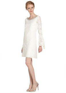 Laundry by Shelli Segal warm white beaded neck bell sleeve lace dress
