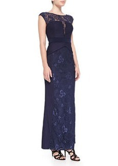 Laundry by Shelli Segal Wavy Ribbed-Bodice Gown w/ Lace Detail