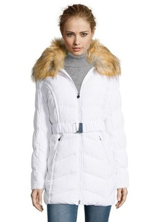 Laundry by Shelli Segal white quilted faux fur trim hooded down jacket