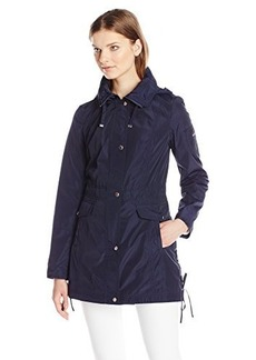 Laundry By Shelli Segal Women's Anorak with Corset Side Ties, Royal Navy, Large