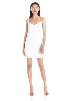 laundry BY SHELLI SEGAL Women's Beaded Chiffon Popover Dress, Optic White, 0