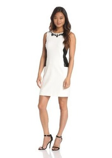 laundry BY SHELLI SEGAL Women's Beaded Ponte and Leather Dress
