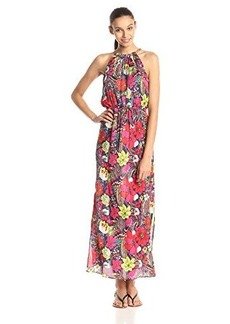 laundry BY SHELLI SEGAL Women's Blouson Maxi Dress with Metal Trim, Citrine Multi, 12