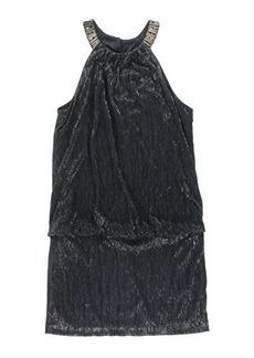 laundry BY SHELLI SEGAL Women's Carrington Foil Beaded Neck Blouson Dress, Dark Midnight, 0