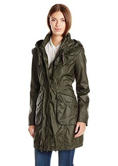 Laundry By Shelli Segal Women's Coated Cotton Anorak, Army, X-Large