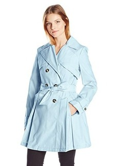 Laundry By Shelli Segal Women's Double Breasted Classic Trench, Paris Sky, Large