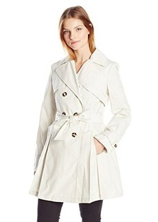 Laundry By Shelli Segal Women's Double Breasted Classic Trench, Vanilla, Medium
