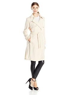 Laundry By Shelli Segal Women's Double Breasted Fluid Trench, Powder, Medium