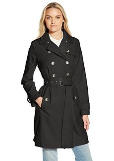 Laundry By Shelli Segal Women's Double Breasted Trench with Leopard Trim, Black, Medium