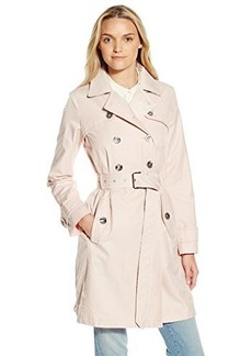 Laundry By Shelli Segal Women's Double Breasted Trench with Leopard Trim, Dusty Pink, Medium