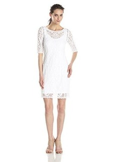 laundry BY SHELLI SEGAL Women's Embroidered Mesh Dress, Optic White, 6