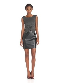 laundry BY SHELLI SEGAL Women's Faux Leather and Jersey Twist Front Dress