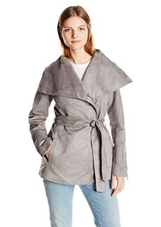 Laundry By Shelli Segal Women's Faux Suede Belted Jacket, Grey, X-Small