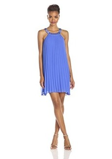 laundry BY SHELLI SEGAL Women's Pleated Chiffon Dress with Beaded Neck, Dazzling Blue, 8