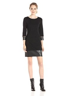 laundry BY SHELLI SEGAL Women's Ponte Dress with Leather Hem and Latticing, Black, 4
