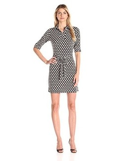 laundry BY SHELLI SEGAL Women's  Printed Matte-Jersey Shirt Dress,Khaki,12