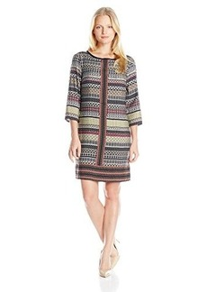 laundry BY SHELLI SEGAL Women's Printed 3/4 Sleeve T-Dress, Pink Fizz Multi, 2/Small/Petite