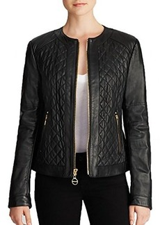 Laundry By Shelli Segal Women's Quilted Leather Jacket, Black, X-Large