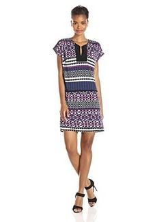laundry BY SHELLI SEGAL Women's Shake It Up Drop Sleeve T-Body Jersey Dress, Madge Multi, Large