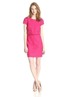 laundry BY SHELLI SEGAL Women's Short Sleeve Boucle Pop Over Dress, Power Pink, 4