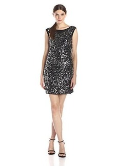 laundry BY SHELLI SEGAL Women's Sleeveless Embellished Dress with Cowl Neck Back, Black, 12