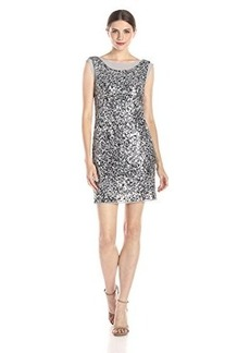 laundry BY SHELLI SEGAL Women's Sleeveless Embellished Dress with Cowl Neck Back, Chrome, 0