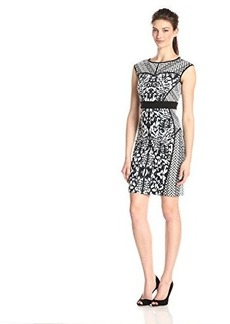 laundry BY SHELLI SEGAL Women's Snow Angel Printed Ponte Dress, Black/Multi, 4