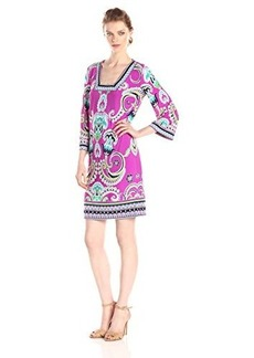 laundry BY SHELLI SEGAL Women's Spring Blossom Square Neck Jersey Dress, Shocking Pink/Multi, 6