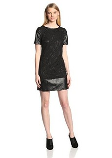 laundry BY SHELLI SEGAL Women's Stretch Lace and Faux Leather Dress